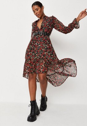 Missguided Petite Black Floral Print Frill Neck Smock Dress