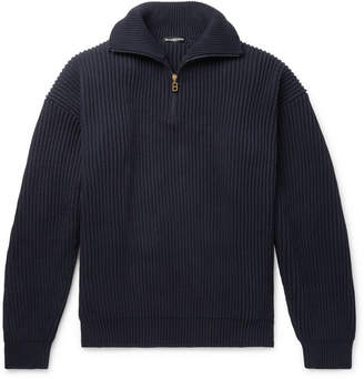 Balenciaga Ribbed Cotton Half-Zip Sweater