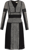 Burberry Lace and leopard-print panelled silk dress