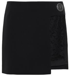 Versace Lace-paneled Crepe Mini Skirt