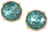 Carolee Gold-Tone Round Blue Crystal Stud Earrings
