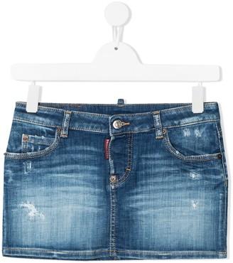 DSQUARED2 TEEN faded denim skirt