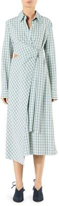 Tibi Elliot Checkered Cut-Out Midi Dress