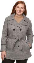 Croft & Barrow Plus Size Fleece Hooded Peacoat