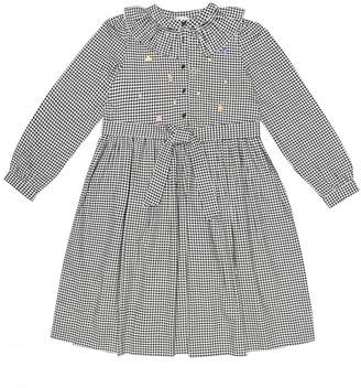 Bonpoint Embroidered cotton gingham dress