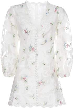 Zimmermann Floral Embroidered V-Neck Mini Dress