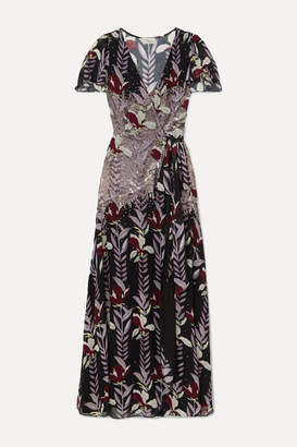 Temperley London Bellflower Sequin-embellished Floral-print Chiffon Wrap Maxi Dress - Black