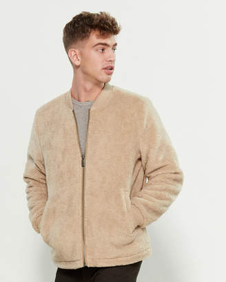 Elijah Parka London Camel Borg Faux Fur Bomber Jacket