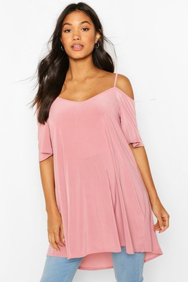 boohoo Maternity Cold Shoulder Slinky Tunic Top