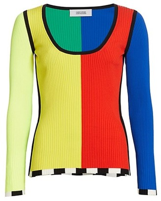Christopher John Rogers Colorblock Rib-Knit Sweater