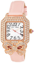Betsey Johnson Women's Bow Crystal Leather Watch