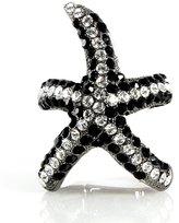 Beautiful Silver Jewelry Beachy Starfish Black and White Sparkling Rhinestone 2 Inch High Stretch Ring
