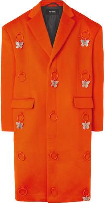 Raf Simons Embellished Virgin Wool and Cashmere-Blend Overcoat - Men - Orange