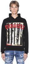 DSQUARED2 Hooded Newspaper Print Cotton Sweatshirt