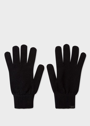Men's Black Cashmere And Merino Wool Gloves