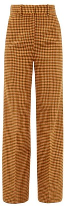 KHAITE Bernadette High-rise Checked Wool Trousers - Womens - Brown Multi