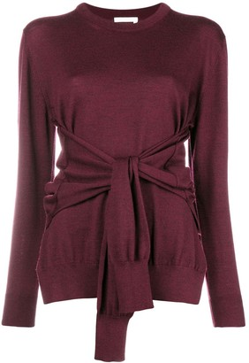 Chloé round neck tied waist jumper