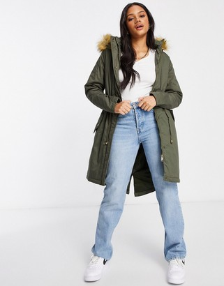 Brave Soul genevieve parka coat with faux fur hood