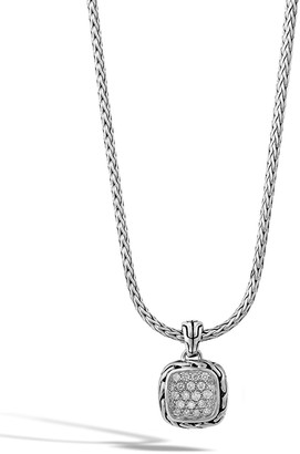 John Hardy Classic Chain Silver Diamond Pendant Necklace
