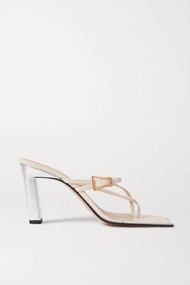 Wandler Yara Metallic Two-tone Leather Mules - Off-white
