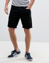 Solid Denim Shorts In Black Wash