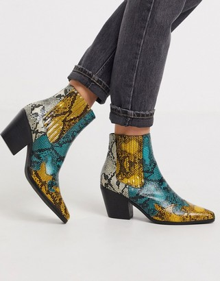 Miss Selfridge western boots in yellow snake