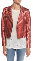 IRO Axelle Cropped Metallic Leather Jacket, Red