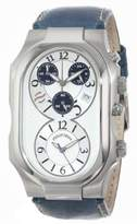 Philip Stein Teslar Men's 3-CRSILBL-CSTN Signature Silver-Tone and Navy Chronograph Dial Calf Strap Watch