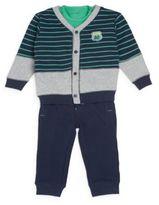 Petit Lem Baby's Road Trip Cotton Bodysuit, Cardigan & Sweatpants Set