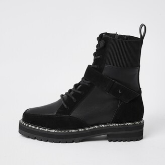 River Island Womens Black lace up suede hiker boots