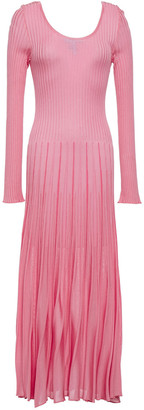 MSGM Pleated Ribbed-knit Maxi Dress