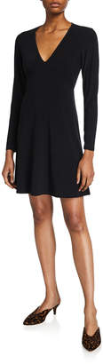 Neiman Marcus Long-Sleeve V-Neck Flare Dress