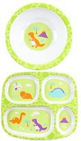 Bumkins Green Dino Might Plate & Bowl Set