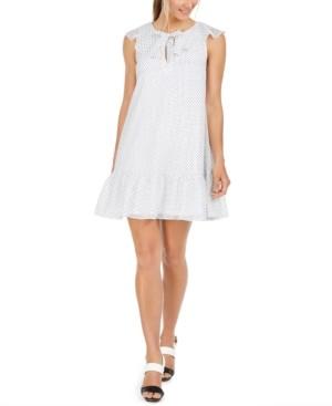 Calvin Klein Petite Dot-Print Babydoll Dress