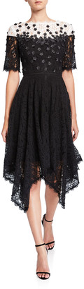 Shani Colorblock Elbow-Sleeve Hanky Hem Lace Dress w/ Floral Applique