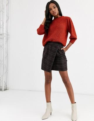 Vila wrap over mini check skirt