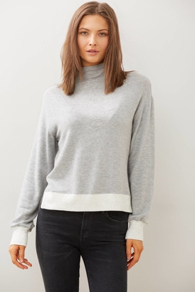Red Haute Colorblock Ribbed Mock Neck Top Grey XS