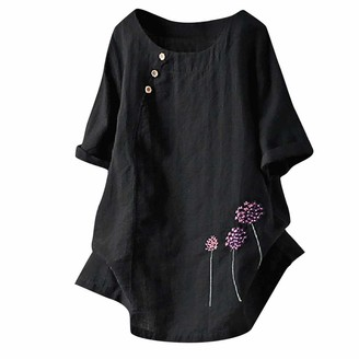 Zegeey Women Plus Size Oversized Floral Lace Embroidery Print Solid V-Neck Linen Long Sleeve Loose Baggy Tops T Shirt Blouse (Black UK-16/CN-2XL)