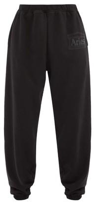 Aries Logo-print Cotton-jersey Track Pants - Black
