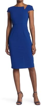 Donna Morgan Cap Sleeve Notch Sheath Dress