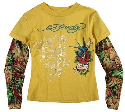Ed Hardy Kids - Multiprint Tee With Tattoo Sleeves (Toddler/Little Kids/Big Kids) (Lemon Bird Rose Janet)