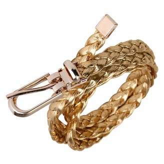 PmseK Women Simple Braided PU Leather Narrow Thin Buckle Strap Waist Belt Waistband Colors: Gold Gold
