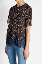 McQ Printed Silk Top with Lace