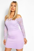 boohoo Plus Lace Bardot Mini Dress