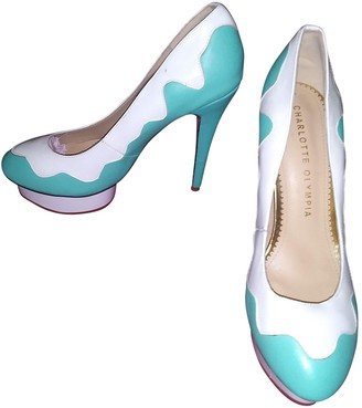 Charlotte Olympia Turquoise Leather Heels