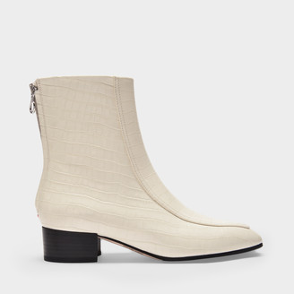 AEYDĒ Ankle Boots Amelia In Creamy Croc Embossed And Smooth Leather