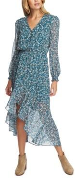1 STATE Printed Asymmetrical Midi Dress