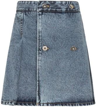 Matthew Adams Dolan Double-Breasted Pleated Mini Skirt