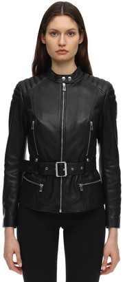 Belstaff Molly Belted Leather Biker Jacket