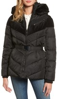 Vince Camuto Women's Belted Down & Feather Fill Coat With Faux Fur Trim Hood